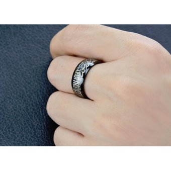 New hot selling 8mm Titanium Steel ring Muslim religious ring Islamic halal words ring men ring gold Color - intl - 2