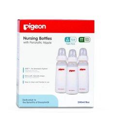 PIGEON Botol Susu Bayi Triple Pack Pp Kp 240Ml With S-Nipple Size M