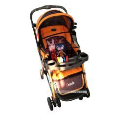 Pliko Stroller New Grande S-268 With 4 in 1 Features - Kereta Dorong Bayi - Orange