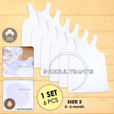 PREMIUM 6 in 1 Kaos Dalam Bayi SIZE S 100% COTTON DINGIN SERAP KERINGAT - Ukuran S / Singlet Bayi KD-01