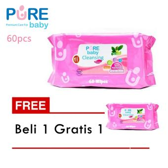 Pure Baby Cleansing Wipes Tea Olive Isi 60 Pcs (Beli 1 Gratis 1)