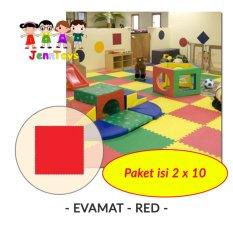 SET (1 pack isi 2 x 10)  Evamat - Polos / Matras / Tikar / Karpet / Puzzle Alas Lantai Evamat - Red