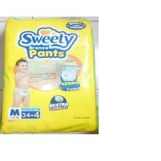 Sweety Bronze Pants Popok Bayi dan Anak Unisex Diapers Tipe Celana Size M - 34 + 4 Pcs ( 3 Pack = 114 Pcs )