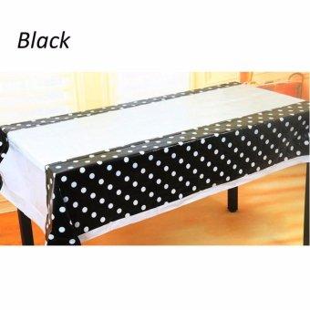 Table Cover / Taplak Meja Plastik Hitam Polkadot