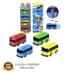 Tomindo Toys Tayo The Little Bus 1 set 4 pcs (Paking Dus Pvc) / Pull Back Car Play Set Mainan Anak Mobil Bis Karakter Tayo Rogi Lani Gani - 1004 / 7008