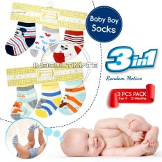 Ultimate Set Kaos Kaki Bayi Newborn Laki-Laki 3in1 / Kaos kaki Cowok / Pria /Foot Cover / Baby Socks 3pcs BY-53-FC - Motif Random