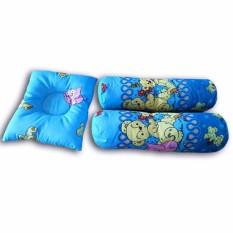 Vuvida Happy Bantal Guling bayi set 3 in 1 random motif - biru - baby gift set