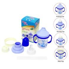 YOUNG YOUNG Gelas Minum Anak IL-801 Feeding Set 4 IN 1 Botol Susu Bayi 180 ML Biru