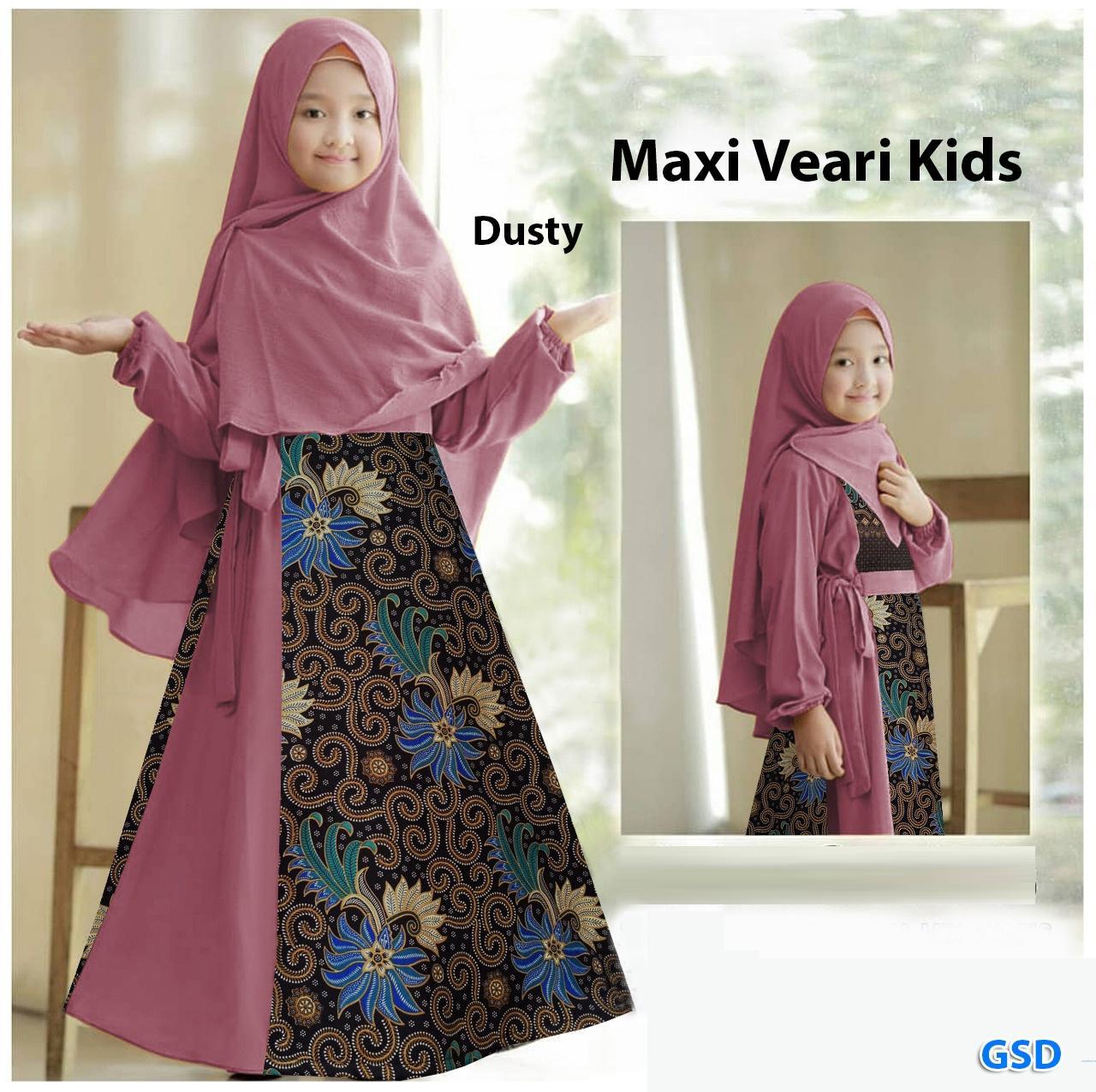 Setelan gamis batik anak ada Hijabnya 11-11 tahun / gamis batik modern / baju  muslim anak cewek / gamis syarii anak / Maxi Veari kids murah