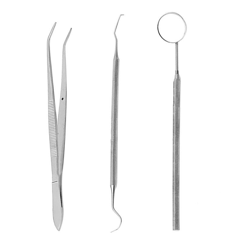 3 Buah Set Stainless Steel Pinset Dental Scaler Gigi Mulut Cermin