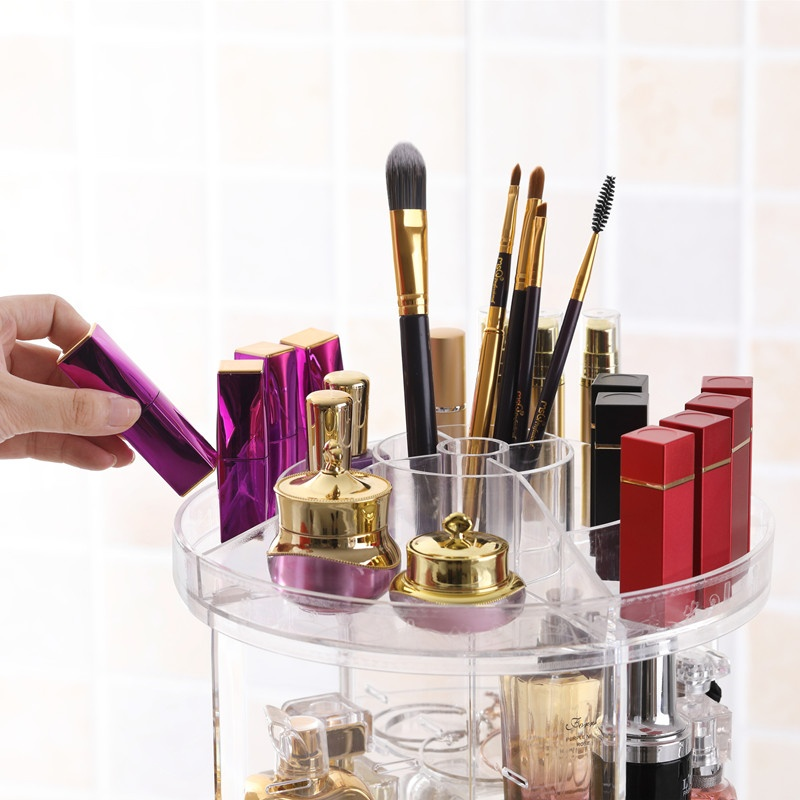 360 Degree Rotating Cosmetic Storage Display Box Transparent MakeUp Rack Beauty Care Holder .