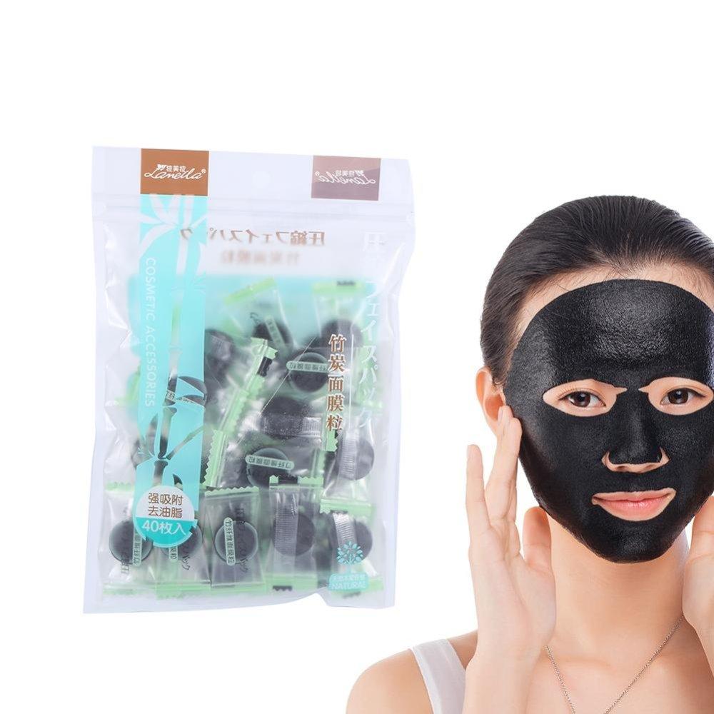 ... 40 Pcs alam bambu arang serat perawatan wajah DIY dikompresi masker kertas lembar ...