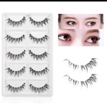 Harga 5 pasang Kecantikan palsu bulu mata padat tebal mata bulu mata ekstensi Makeup putih kotak alat Murah