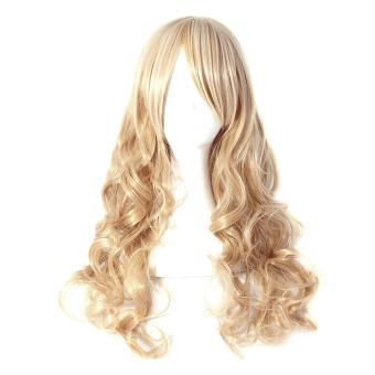 Harga 50 cm wanita rambut palsu ikal panjang gelombang rambut ekstensiKeemasan Murah