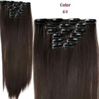Harga 6 Pcs/set Long Straight Hairpiece Wig 16 Clips Heat Resistant Synthetic Hair Extensions – intl Murah