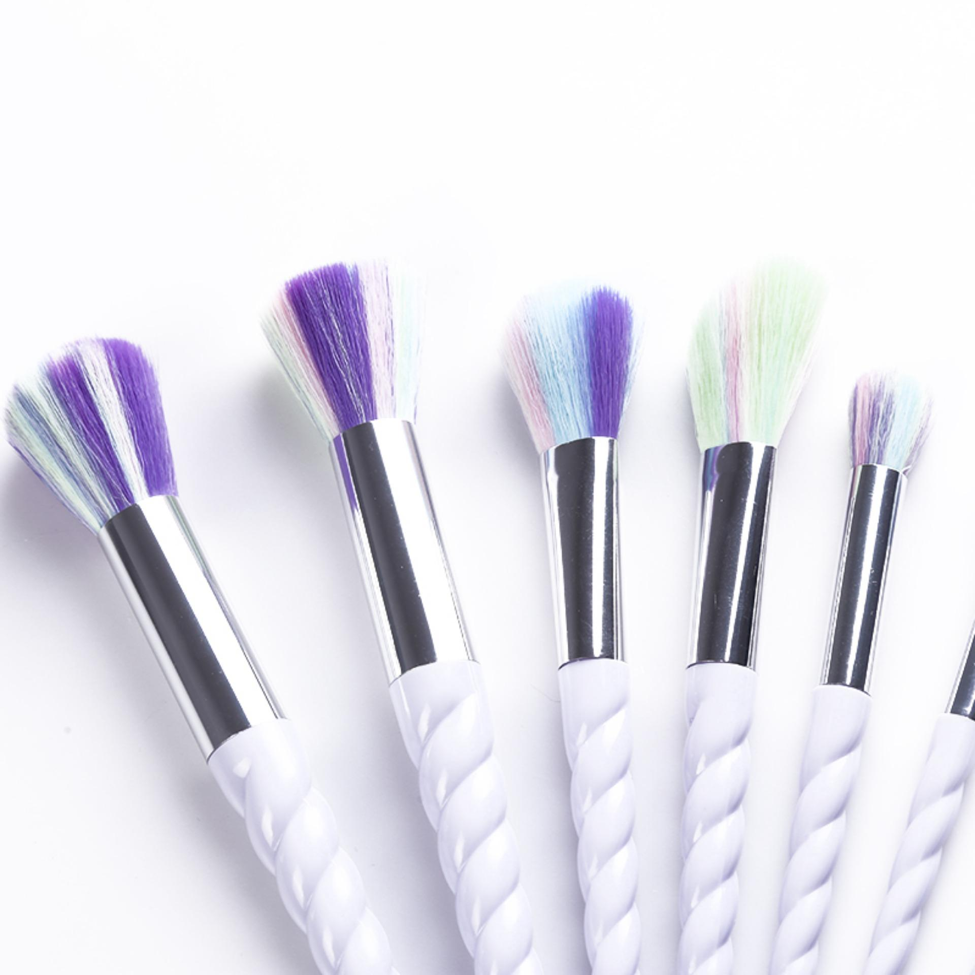 ... Ai Home 10pcs Unicorn Thread Makeup Cosmetic Brushes Set With Colorful Rainbow Hair And White Delicate ...
