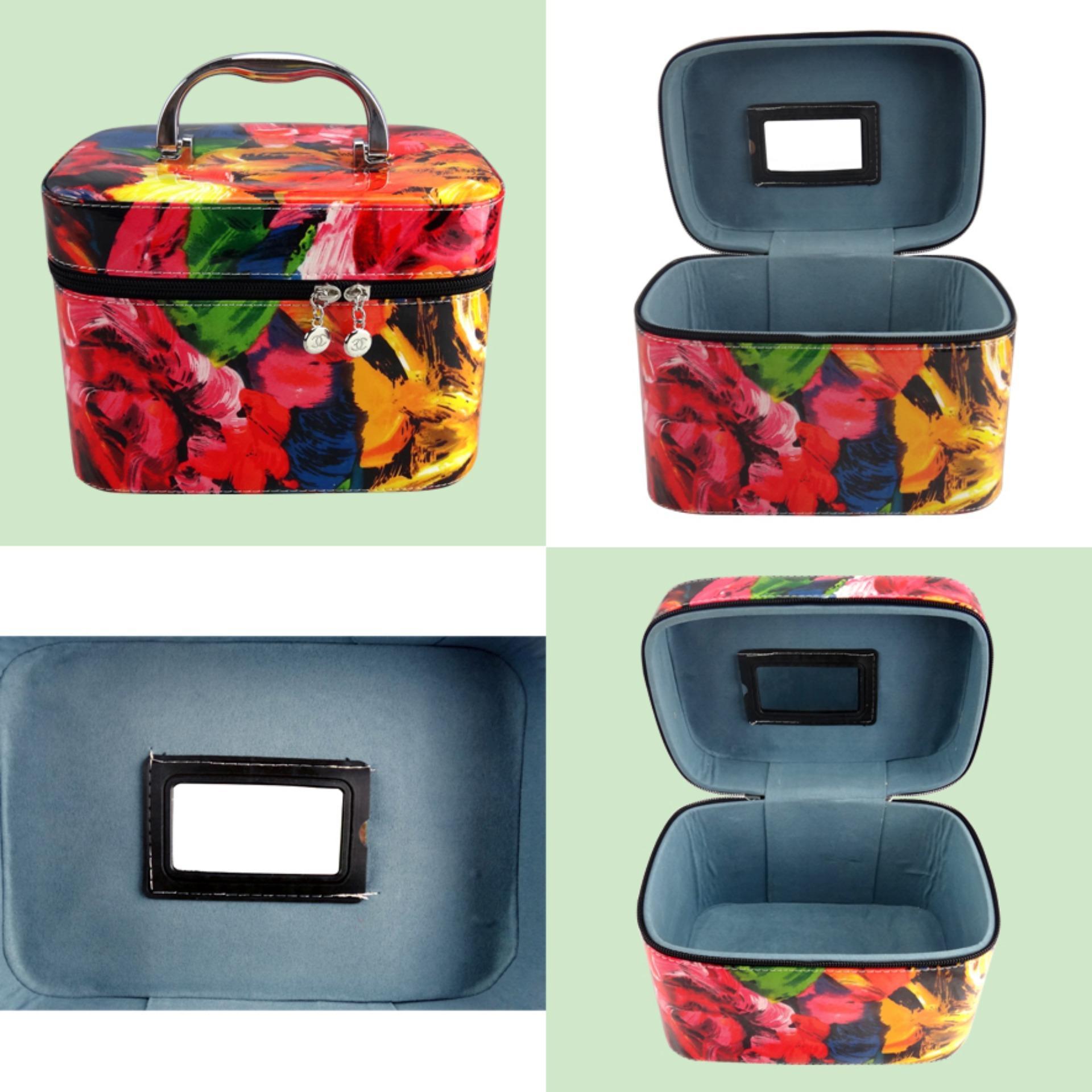Beau Kotak Kosmetik / Cosmetic Box Motif Bunga Abstrak 213 Size M -002 .