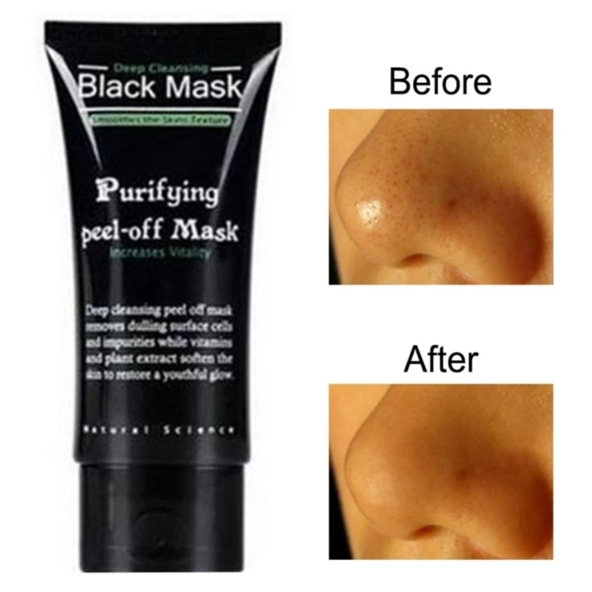 Black Mask Kiss Beauty Deep Cleansing Acne Purifying Peel-off / Masker .