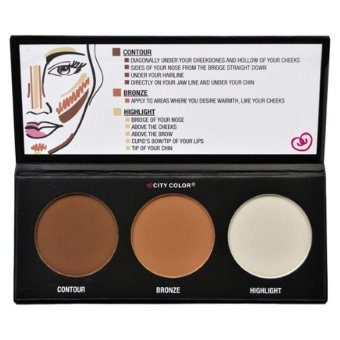 City Color Rias Wajah Original Effects 2 Palette Contour Bronze Highlight Natural Tone Menyamarkan Noda Hitam