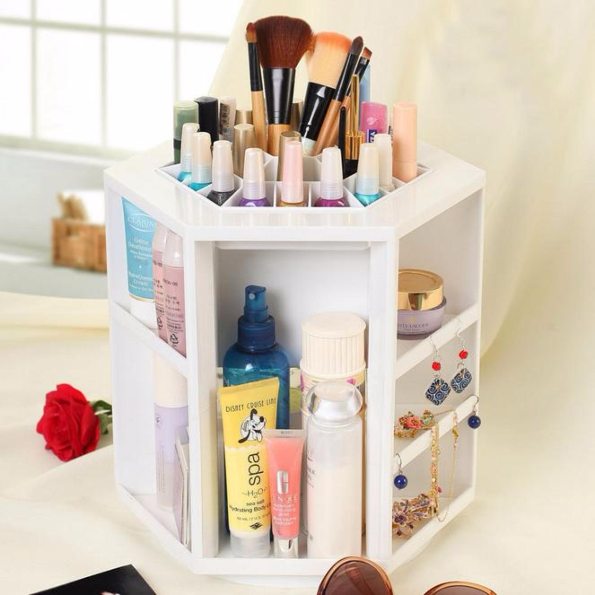 Babamu Tempat Kosmetik Storage Rack Cosmetic White Daftar Harga Desktop Rotate Kotak Kuas Make Up Kutek Rak Cosmetics Box Organizer 360 Rotating Putar360
