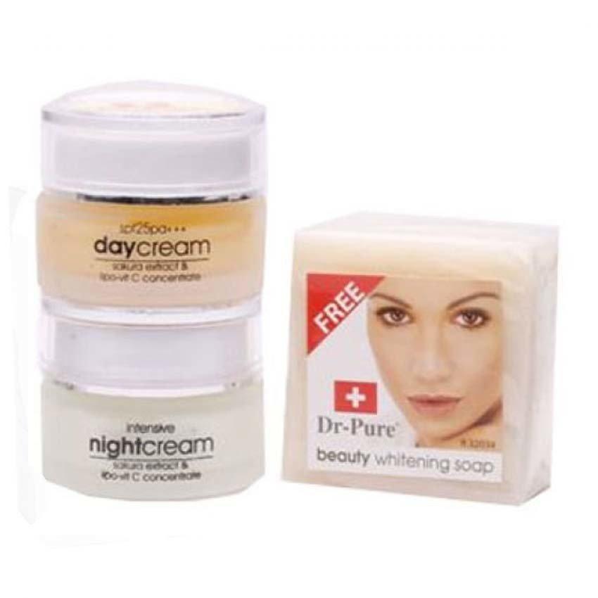Dr Pure Paket Face Whitening Cream BPOM dan Sabun Perawatan Wajah Original Krim Pemutih Pencerah Alami Siang Malam - 3 Item