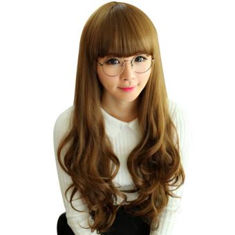 Harga Fashion rambut keriting panjang datar berombak poni wig cosplayHalloween untuk Pesta Natal coklat muda Murah