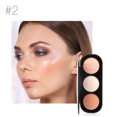 FOCALLURE 3 Color Blush Highlighter Bronzer Palette Contour Shadow Powder Face Makeup Powder #2 - intl
