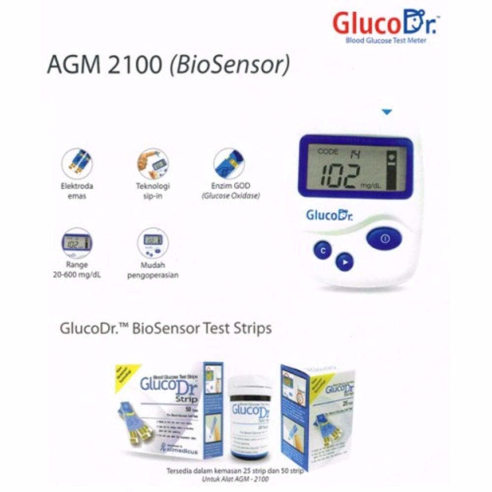 Belanja Terbaik Gluco Dr Biosensor Alat Cek Gula Darah Tes Strip Bio Sensor Agm 2100