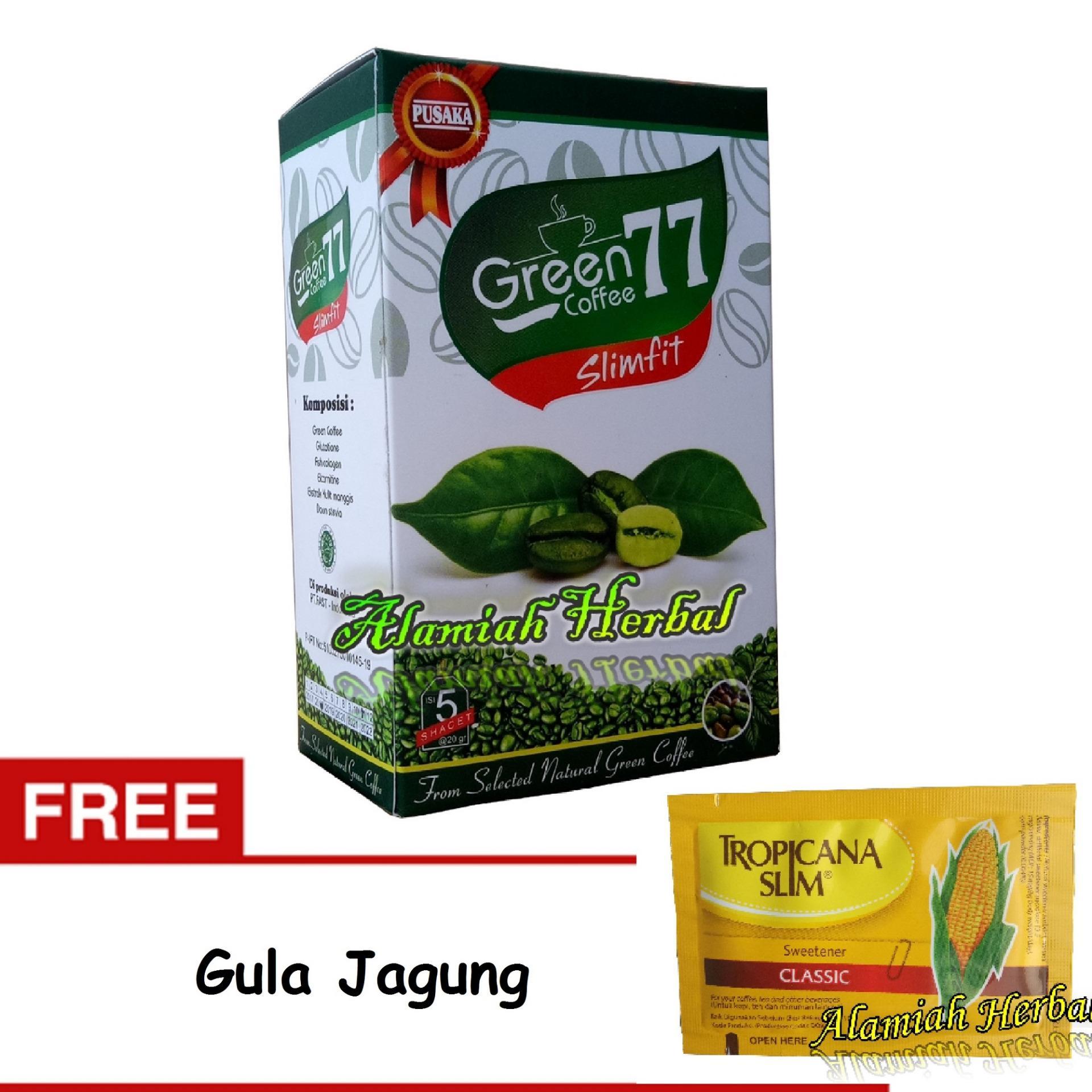 Flash Sale Green Coffee 77 Slimfit Minuman Kopi Hijau Diet Pelangsing - 5 sachet + Gula Jagung