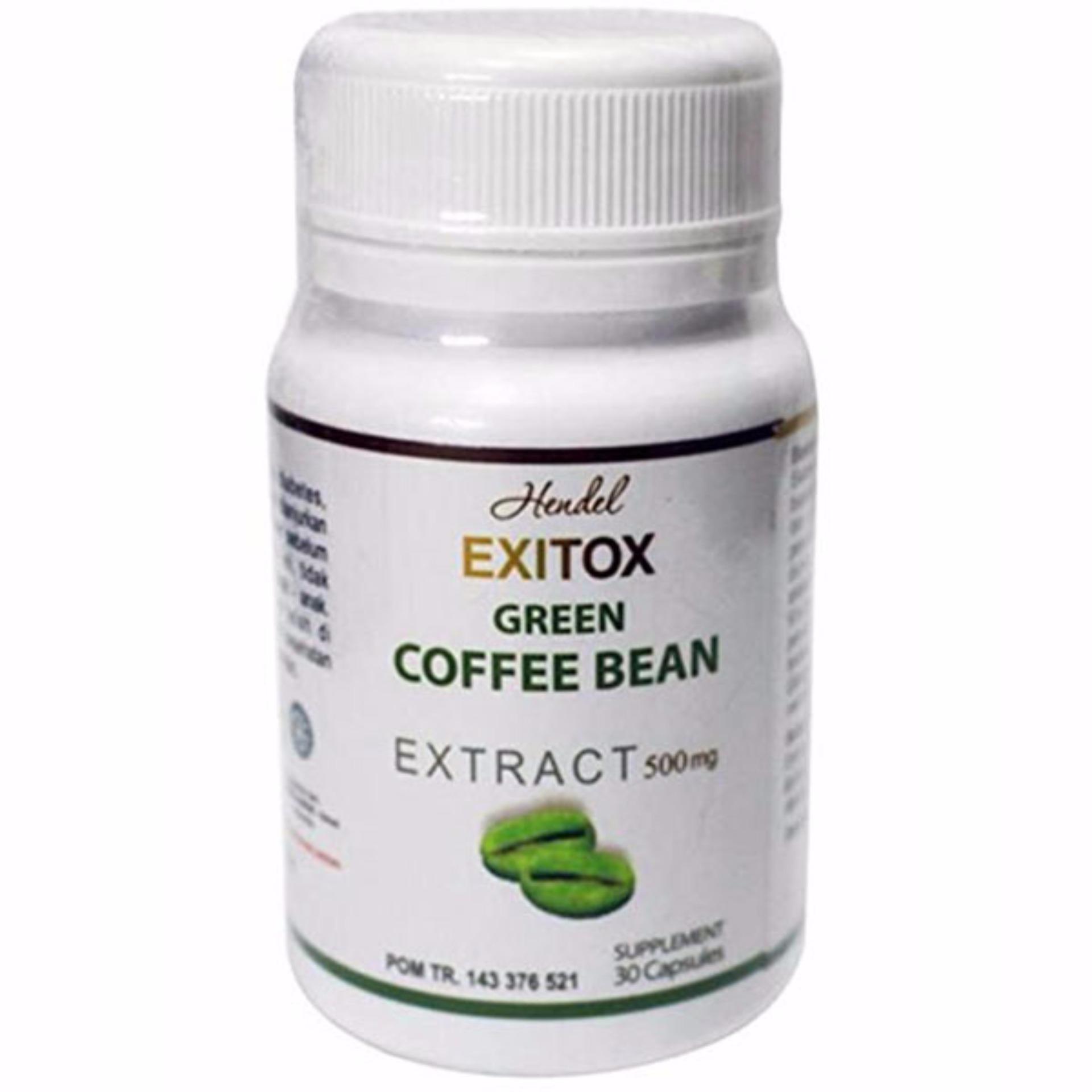 ... Green Coffee Bean Hendel Exitox Extract 500Mg 30 Kapsul Original Asli Pelangsing Alami Ampuh Aman Bahan ...