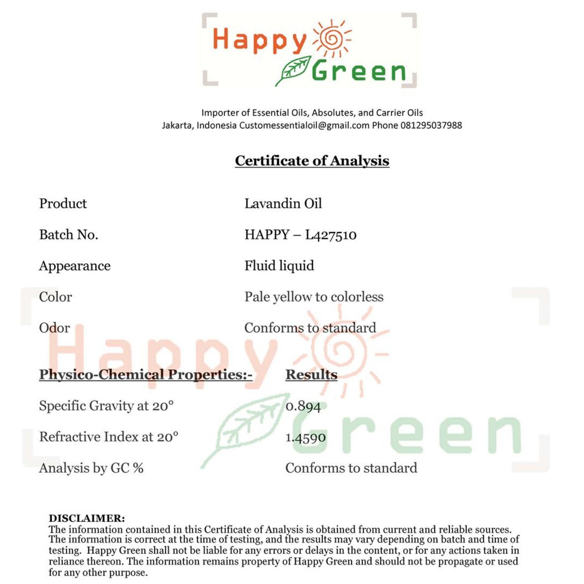 Happy Green Lavandin Essential Oil (10 ml) - Minyak Lavandula Grosso ...