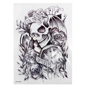 HomeGarden Cool Sexy Tattoo Skull Temporary Body Arm Stickers Black Removable Waterproof Black