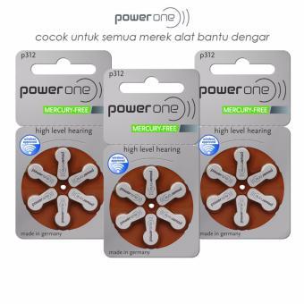 Baterai Alat Bantu Dengar PowerOne P312 Mercury-Free Hearing Aid Battery