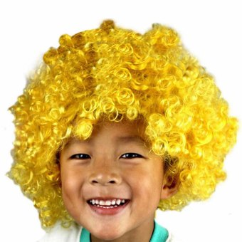 Novelty Short Afro Full Lace Curly Clown Party Wigs Soccer Fans Halloween Fancy Dress Curl up Fake Hair Wild Wig Yellow ...