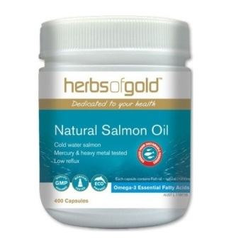Harga Herbs of Gold Premium Natural Salmon Oil 1000 - 400 Kapsul - Made in Australia