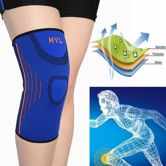 Elastis bungkus pelindung lutut kaki pendukung bantalan lutut kiper sejuk Biru - Internasional .