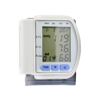 LCD Display Home Automatic Digital Wrist Cuff Monitor Tekanan Darah & Heart Beat Meter (Putih
