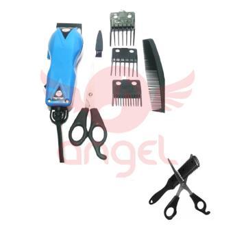 Happy King HK-900 Profesional Hair Clipper Trimmer Bundling Sisir Razor Dan Gunting Penipis Rambut Bergigi - Biru Muda ...