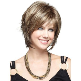 ... New Synthetic Wigs Short Straight Hair Blonde Wig For Women Glamorous Fashion - 4