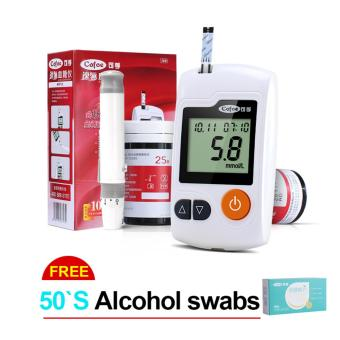 Harga Blood Glucose Meter Diabetes Glucometer analyzer machine monitor With 50s Strips And 50s Lancets Free Alcohol Swabs 50s - intl