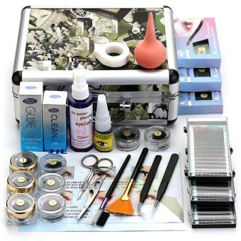 Salah ekstensi bulu mata lem profesional kuas Set perlengkapan dengan Case kotak alat .