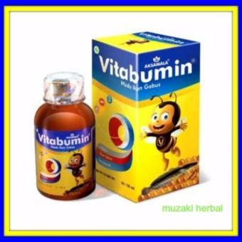 Paket 3 Botol Vitabumin Asli Aksamala Madu Albumin Ikan Gabus 130 ml .