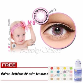 Lucky X2 Ice Nude N8 Softlens - Pink + Gratis Cairan Softlens 60 ml + Lenscase