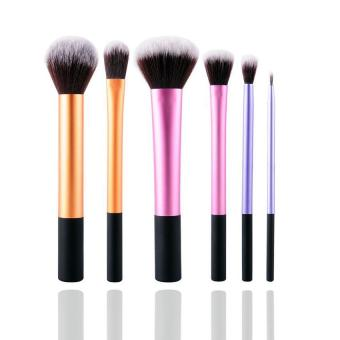 Harga LALANG 6Pcs Set Pro Techniques Powder Cosmetic Makeup Blush Brushes Foundation Tool (Multicolor)