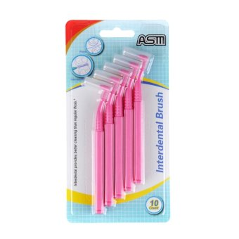 2 Sets 20 Count 0.6mm L Type Slim Interdental Brush Dental Floss Teeth Stick Toothpicks Cleaning Tool For Oral Care(Pink)
