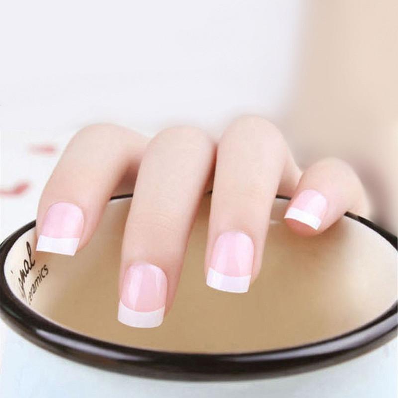 Kecantikan bulat pendek kuku alami tips salon penutup penuh false Perancis tips Kuku Art palsu acrylic