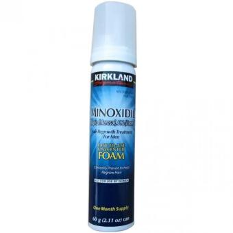 Kirkland Minoxidil 5% Foam Penumbuh Rambut Pria - Kumis - Brewok - Jenggot - Biru