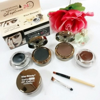 Kiss Beauty 2in1 ( 2set Eyeliner + Eyebrow Powder + Kuas )