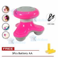 Kokakaa Mimo Tripod Shape Massager Alat Pijat Elektrik Serbaguna USB + Baterai A3 Bundle - Pink