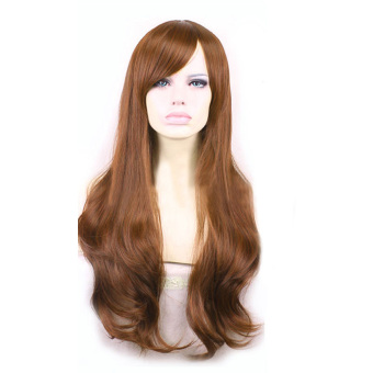 Harga La Vie Rambut Sintetis Lembut Gelombang Panjang Seksi Cosplay Wig Rambut Palsu Penuh Renda Wanita (Kuning) Murah